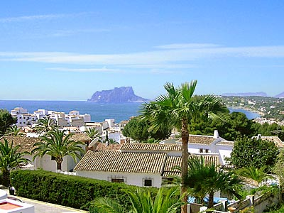 The Mediterranean resort Moraira on the Costa Blanca as seen from Pla del Mar