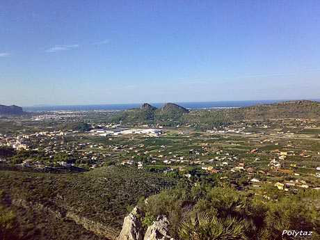 View of the Monte Pedreguer area, between the Denia countryside and Valencia, with panoramic sea view in the background